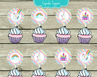 Unicorn Birthday Party Cupcake Toppers Aqua Pink Rainbows Clouds Castle Fairy tale Happy Birthday Magical Unicorns