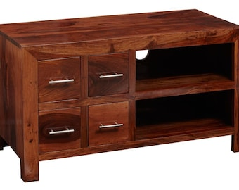 Cube wooden TV video cabinet - Honey stain finish - Handcrafted solid hardwood