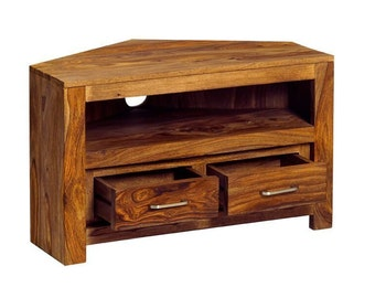 Sheesham handcraftedcorner tv unit - Handcrafted in India - 2 drawer with shelf