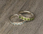 Stackable Sterling Silver Peridot or Aquamarine -  Hand Engraved Ring - Traditional Pave