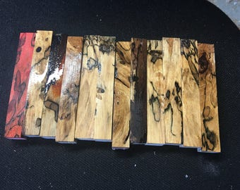 Stabilized spalted pecan pen blank