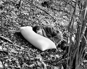 The Forest Sleep- Black and White Photography, B&W Art Print, Woods, Trees, Man, Medium Film Camera