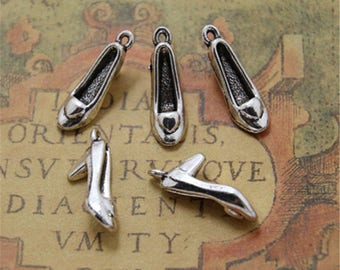 20pcs High Heel Shoe Charms pendants  Silver Tone 3D 22mm x 10mm x 7mm ASD0060