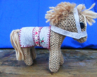 Hand Knitted Faerie Pony Foal Pure Wool Waldorf Inspired Hand Crafted