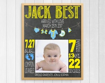 Baby Boy Nursery Art, Baby Boy Birth Stat Art ~  Birth Stats Custom Subway Art ~ Baby Stats Printable ~ Newborn Baby Gift ~ Printable Birth
