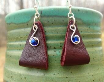 Leather Earrings - Auburn