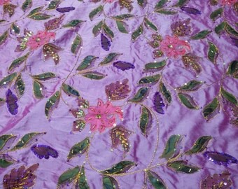Lovely lilac fine silk -  hand painted, hand beaded