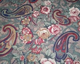 "Vintage - Sandown & Bourne ""Sandhurst"" pattern, ultra soft brushed cotton, paisley and rose, made in Lancashire, UK"