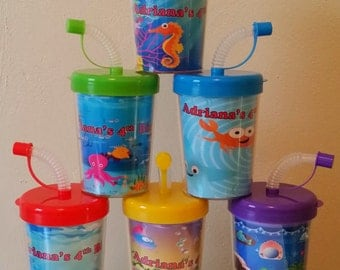 Under The Sea Personalized Party Favor Cups, Crab, Octopus, Sea Horse, Star Fish, Set of 6, Under the Sea Birthday Party