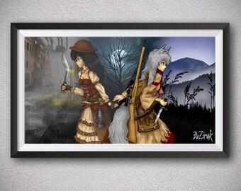 Two girls Werewolf Victorian london 19th century Moon night Gothic art Kukri knife Vintage rifle London fog Misty fields Industrial street