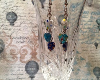 Glass hearts earrings