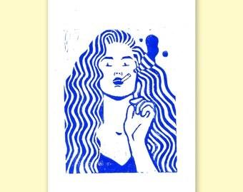 The Smoker - A4 Linocut prints
