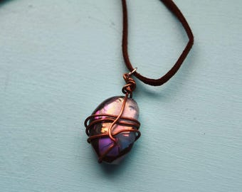 Homemade wire wrapped glass stone necklace
