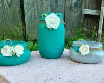 3 piece office set - Aqua and gray mason jars