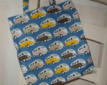 Shopping bag bag tote bag blue men buses Samba cars retro