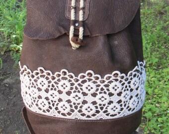 Leather backpack, handbag, backpack boho style of ecological material