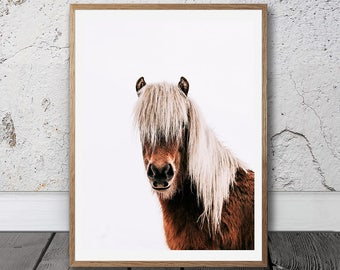 Wild Pony Print, Horse Printable, Digital Download, Icelandic horse Print, Horse Portrait, Pony Art Print, Scandinavian Wall Decor, Boho
