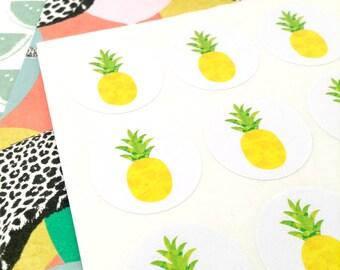 96 pineapple stickers. Pineapple seals. Envelope seals pineapple fruit sticker. Pineapple envelope seal. Wedding invite seal #1038