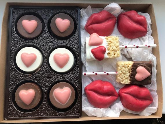Valentines Day Gift Box Chocolate covered pretzels oreos rice krispy