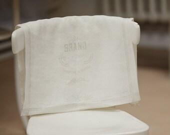 Soften linen kitchen tea towel / White