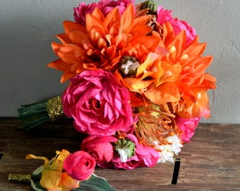 Bouquet and boutonniere set; pink;orange;prom;bright;protea;dahlia;rose;sweet pea;gold;white;wedding;formal;dance