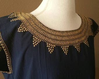 Blue Embroidered Mexican Blouse Sleeveless