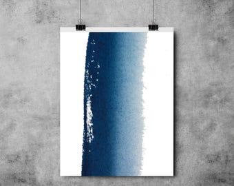 Blue Paint Brush Stripe - A4/A3 - Art - Modern - Painting