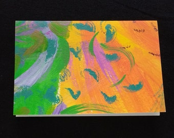 """Handpainted 4x6"""" blank greeting card with envelope"""