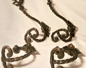 Four French Vintage metal hangers,hooks,industrial ,coat hooks