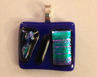 Blue and Black Glass Necklace Pendant