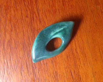 Turquoise ceramic mid century brooch