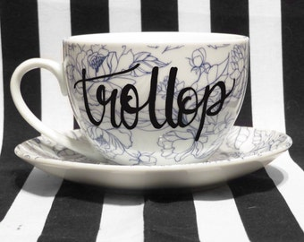 """FREE SHIPPING - Cheeky China, """"Trollop"""" Tea Cup & Saucer"""