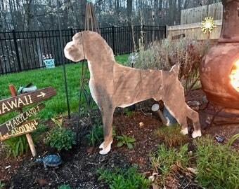 Boxer Wooden Silhouette Re-purposed Handmade