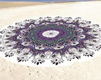 High Quality round beach towel, Peacock feathers bath towel/ beach towel