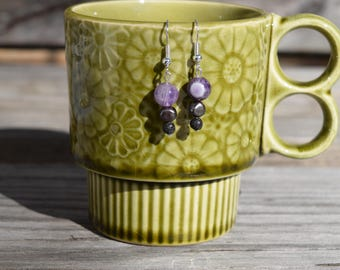 Amethyst Earrings with Freshwater Pearl and Lava