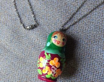 Vintage babushka pendant on silver chain with barrel clasp