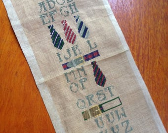 Vintage cross stitch linen sampler