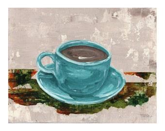 Grandmas Coffee Cup-Original Mixed Media