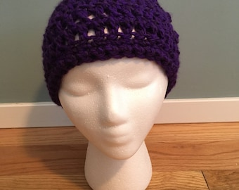 Purple Crocheted Cap