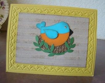 Blue bird on nest