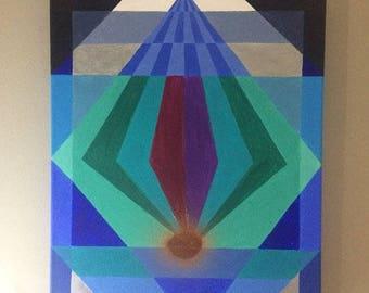 Bleu Gemstone, acrylic on canvas, 40cmx50cm