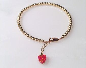 Opal Heart Beaded Bracelet, Opal Heart Bracelet, Heart Bracelet, Dainty Bracelet, Delicate Jewelry, Charity Bracelet