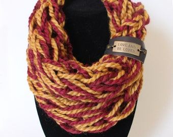 Inspirational Maroon and Gold Single Wrap Chunky Arm Knit Infinity Scarf with Detachable Faux Leather Cuff