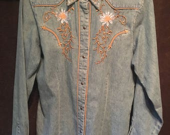 Womens Roper vintage denim snap button western shirt size medium