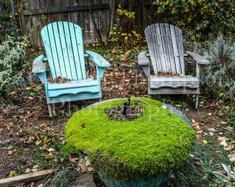 Fine Art Photograph of a Neighborhood Garden with Adirondack Chairs