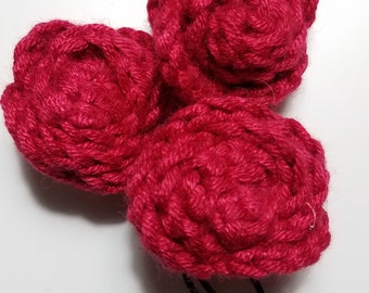 Red Rose Crochet hair pin
