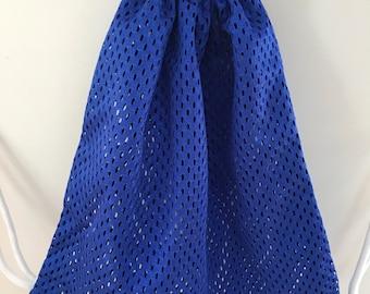 Blue Mesh Drawstring Bag