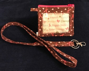 ID Wallet, Lanyard, Pouch, Hope Ribbons and Hearts