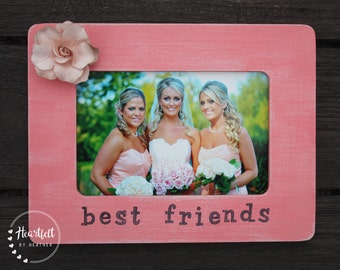 Best Friends Personalized Picture Frame Best Friend Gift Distressed Picture Frame
