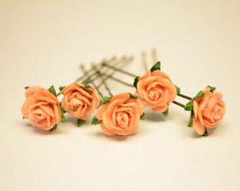 Peach Rose Flower, Wedding Hair Accessories, Flower Hair Pins, Mulberry Paper Flower Hair Pins